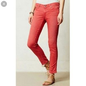 AG Adriano Goldschmied Stevie Ankle Jeans Red 27